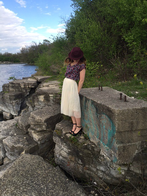 standing on rock looking down